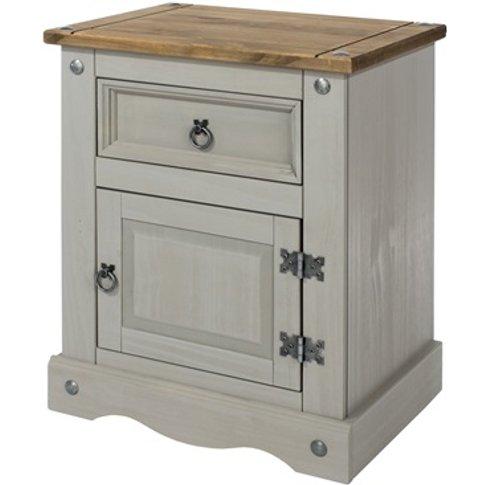 Corona Grey 1 Door, 1 Drawer Bedside Cabinet