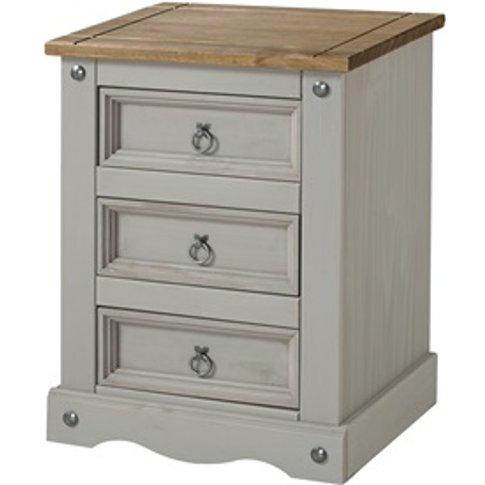 Corona Grey 3 Drawer Bedside Cabinet
