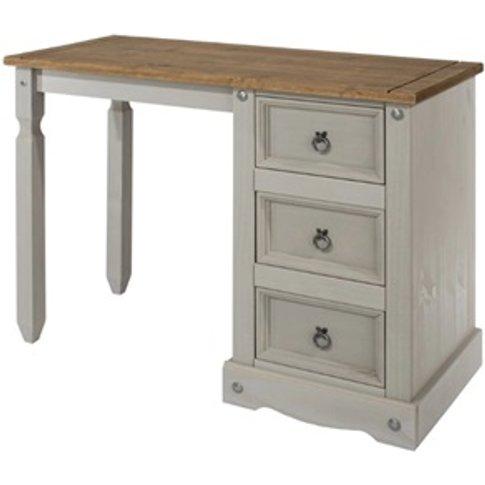 Corona Grey Single Pedestal Dressing Table