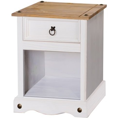 Corona White 1 Drawer Bedside Cabinet