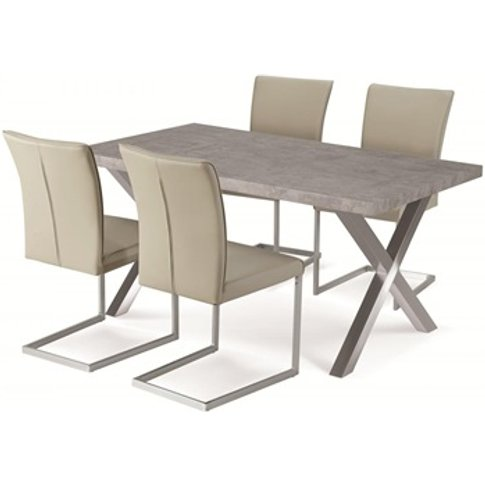 Helix Dining Table Stone And Brushed Stainless Steel
