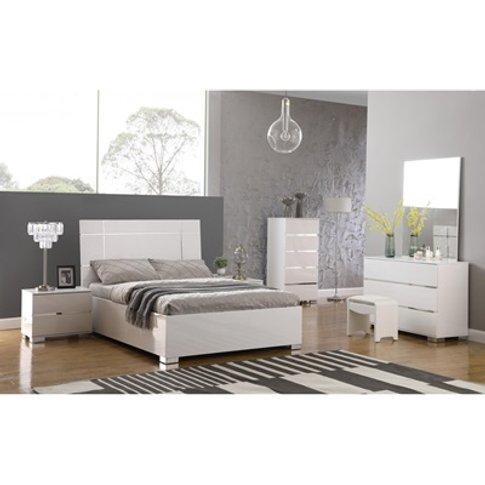 Helsinki High Gloss Bed In White