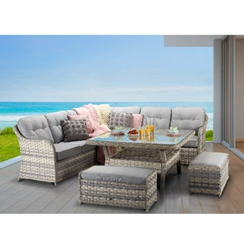 Constance Corner Dining Sofa With Benches - Silver G...