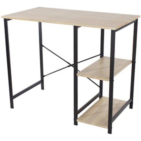 Loft Home Office Desk And Side Storage, Oak Effect T...