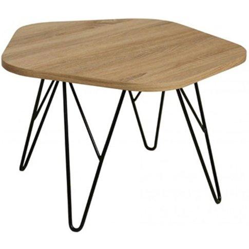 Lugano Coffee Table Natural With Black Metal Legs
