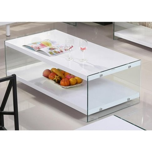 Marco White High Gloss And Glass Coffee Table