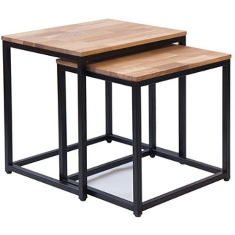 Mirlelle Nest Of Tables Solid Oak Black Metal Frame