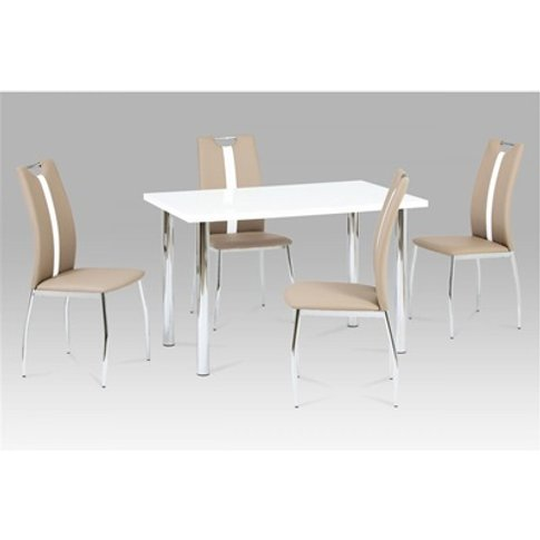Naomi Dining Table White High Gloss With Chrome Legs