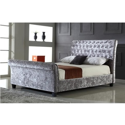 Serenity Crushed Velvet Bed In Silver