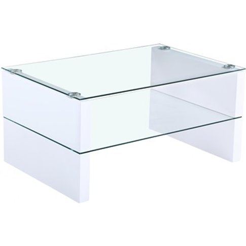 Truro Glass Coffee Table With White High Gloss Legs