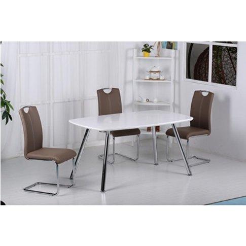 Vera High Gloss Dining Table Light Grey And Chrome