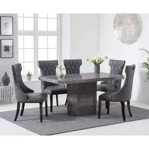 Belle 160cm Grey Marble Dining Table With Freya Dini...