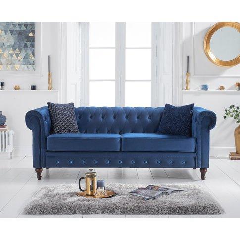 Calama Blue Velvet 3 Seater Sofa