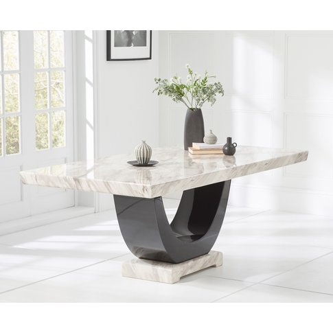Raphael 200cm Cream And Black Pedestal Marble Dining...