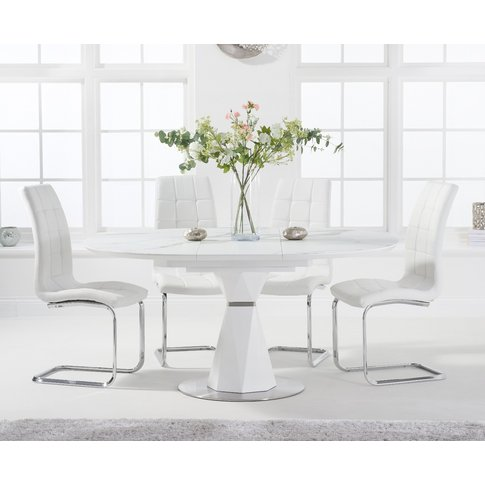 Jackson 120cm Round White Extending Dining Table Wit...