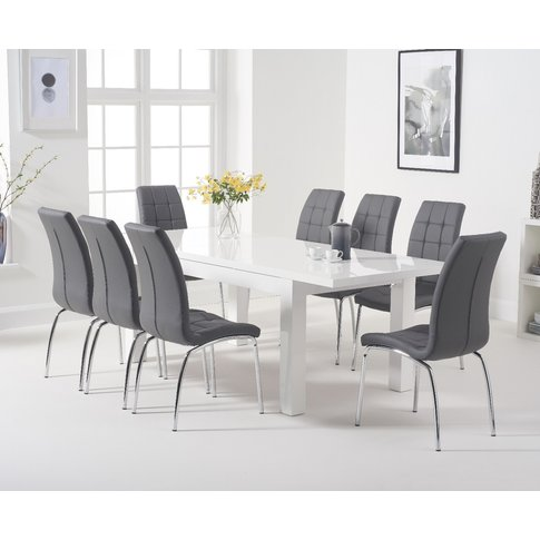 Atlanta White Gloss 160-220cm Extending Dining Table...