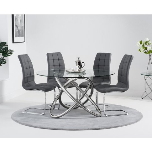 Diana 135cm Round Glass Dining Table with Lorin Chai...