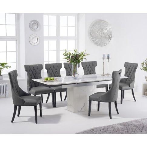 Metropolis 160cm Extending White Marble Dining Table...