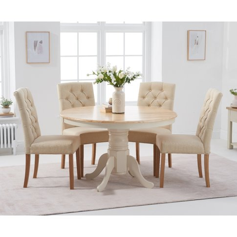 Epsom 120cm Oak And Cream Dining Table With Claudia ...