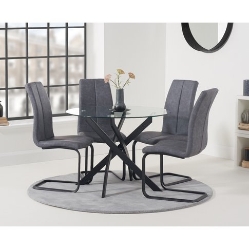 Mara 100cm Round Glass Dining Table With Antique Liz...