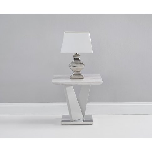 Reims Marble Effect Carrera Light Grey Side Table