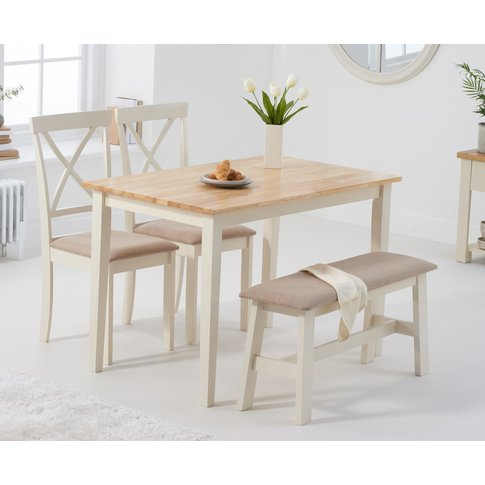 Chiltern 114cm Oak And Cream Table With Epsom Chairs With Cream Fabric Seats And Benches - Cream, 2 Chairs