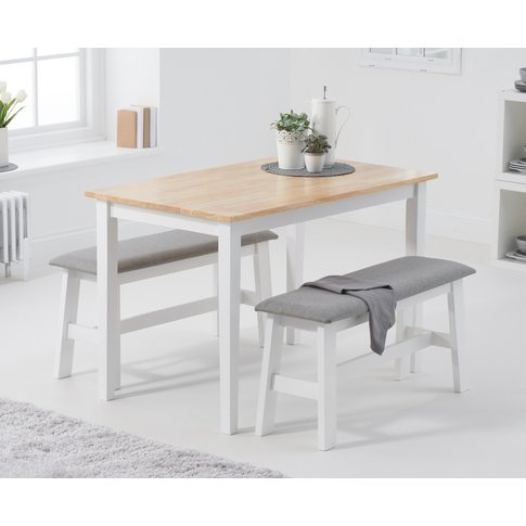 Chiltern 114cm Oak And White Table With Fabric Benches
