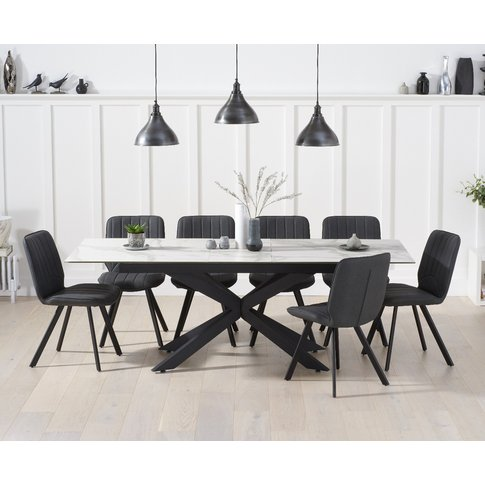 Boston 180cm White Ceramic Extending Dining Table Wi...