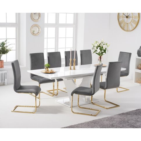 Halo 160cm White High Gloss Extending Dining Table W...