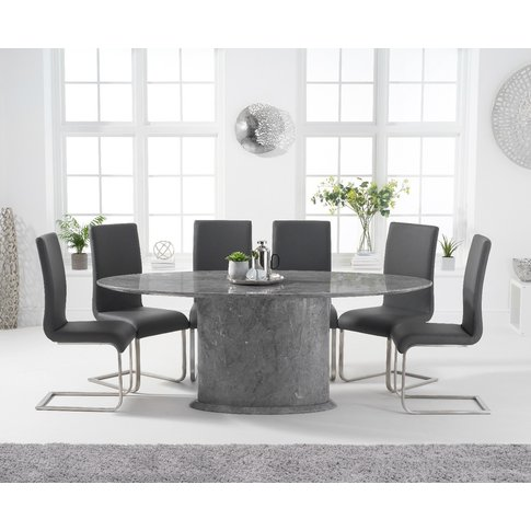 Colby 200cm Oval Grey Marble Dining Table With Malag...