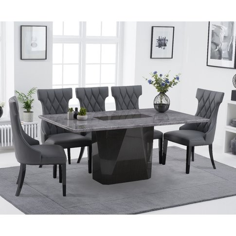 Mario 180cm Light Grey Marble Dining Table With Frey...