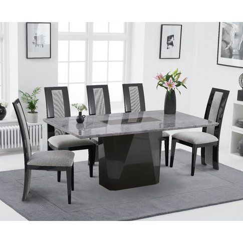 Mario 180cm Light Grey Marble Dining Table With Raph...