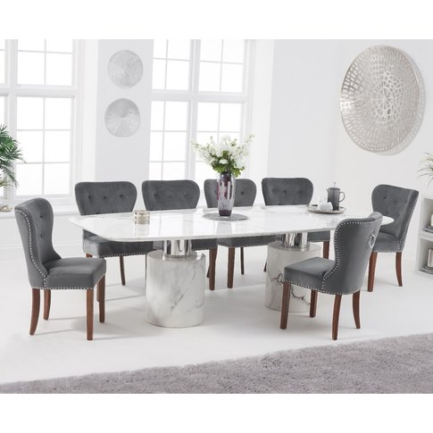 Antonio 260cm White Marble Dining Table With Knights...