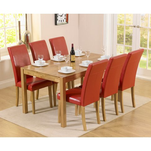 Oxford 150cm Solid Oak Dining Table With Albany Red ...
