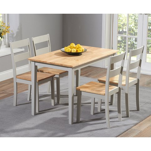 Chiltern 114cm Oak And Grey Dining Table Set With Ch...
