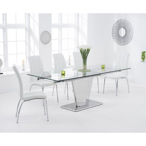 Liberty 160cm Extending Glass Dining Table With Calg...