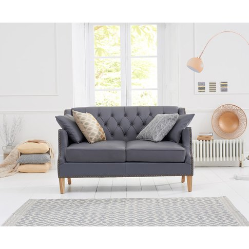 Charlotte Chesterfield Grey Leather 2 Seater Sofa