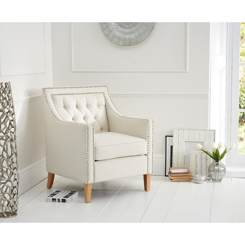 Chatsworth Chesterfield Ivory Linen Armchair