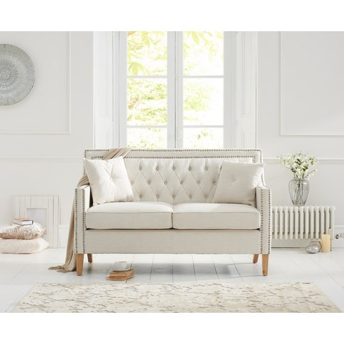 Chatsworth Chesterfield Ivory Linen 2 Seater Sofa