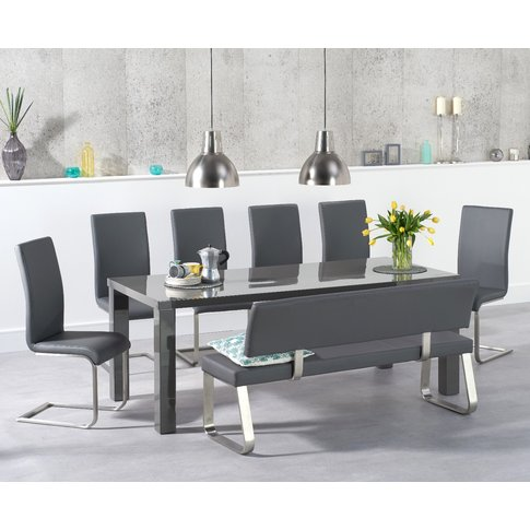 Atlanta 200cm Dark Grey High Gloss Dining Table With...