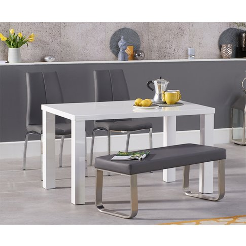 Atlanta 120cm White High Gloss Dining Table With Cav...