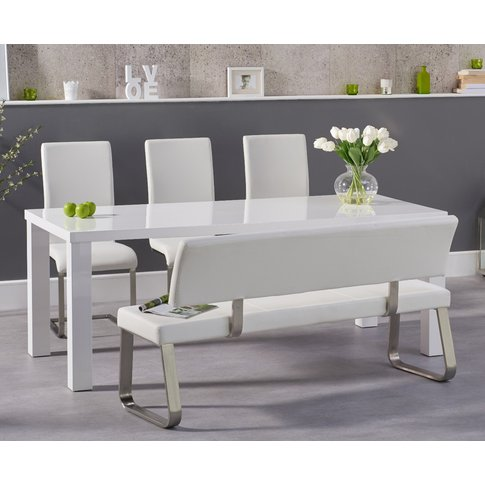 Atlanta 200cm White High Gloss Dining Table With Mal...
