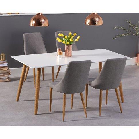 Malmo 180cm Matt White Dining Table With Ashford Fab...