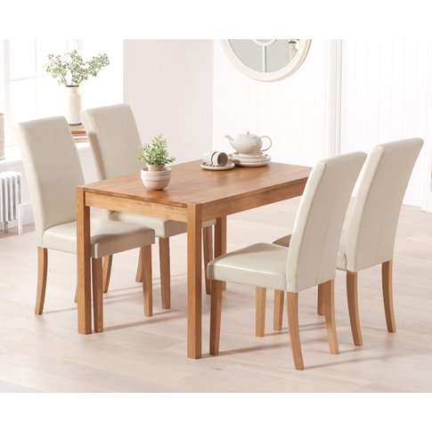 Oxford 120cm Solid Oak Dining Table With Albany Crea...
