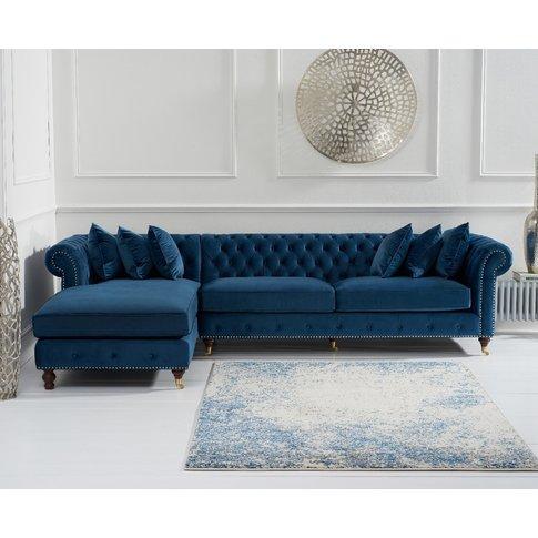 Flora Blue Velvet Left Facing Chesterfield Chaise Sofa