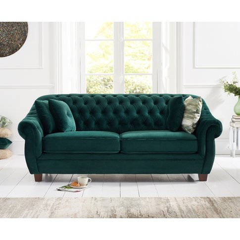 Lilly Chesterfield Green Plush Fabric Three-Seater Sofa
