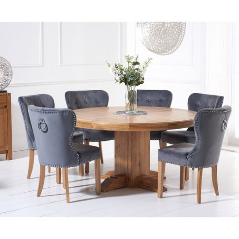 Torino 150cm Solid Oak Round Pedestal Dining Table W...