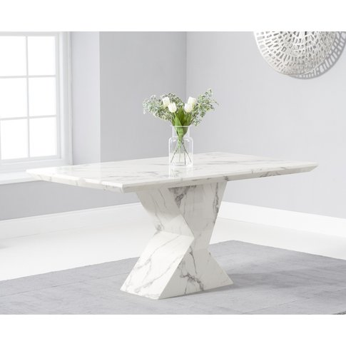 Aaron 160cm Marble White Dining Table