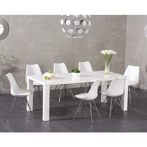 Atlanta 200cm White High Gloss Dining Table With Cel...