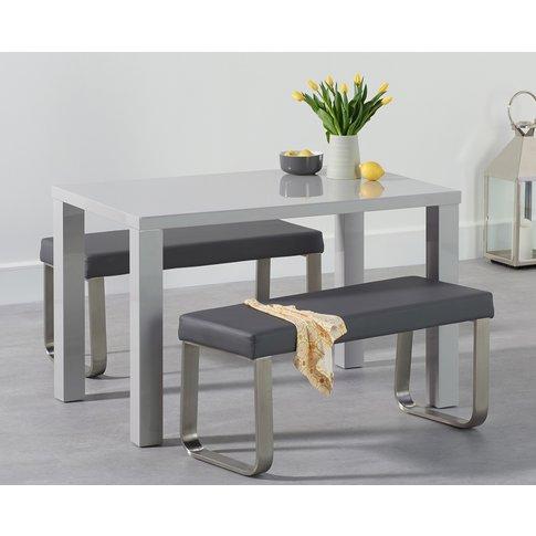 Atlanta 120cm Light Grey High Gloss Dining Table With Atlanta Benches